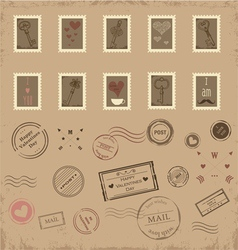 Collection of vintage post stamps vector