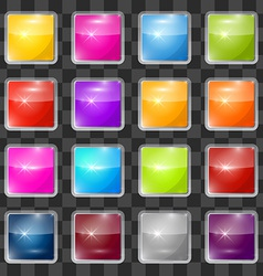 Colorful square glass buttons set on transparent vector