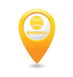Map pointer with baseball icon vector