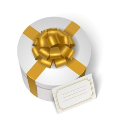 Wedding present box with yellow ribbon and bow vector