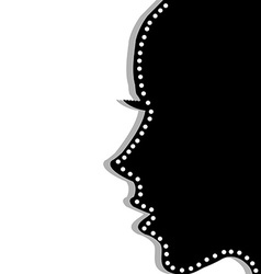 Stylized woman profile over white background vector