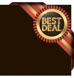 Best deal golden label with ribbons vector