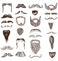 Set of hand drawn moustache mustache vector