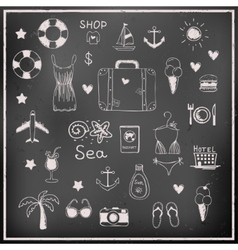Set of chalk board travel elements vector