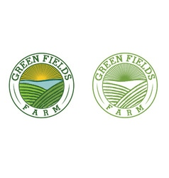 Emblems of green field farm vector