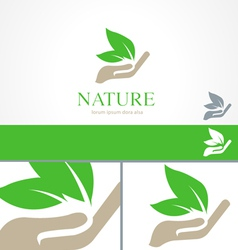 Hands leaf green nature natural logo template vector