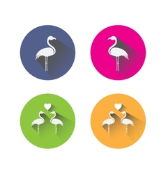 Flat design flamingo icons vector