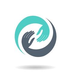 Hands in circle logo vector