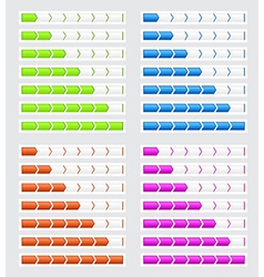 Progress bars in four colors for websites vector