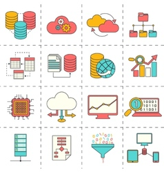 Data analysis flat line icons vector
