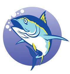 Tuna in deep blue sea vector