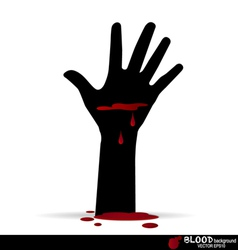 A bloody hand with blood dripping down vector