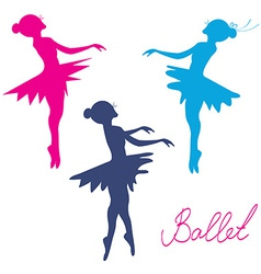 Ballerina silhoette set vector