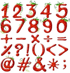 Strawberry designed numbers vector