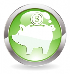 Gloss button with piggy bank vector