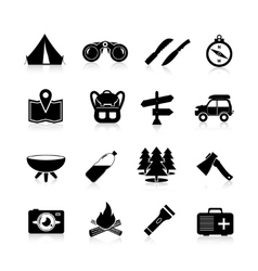 Camping icons black vector