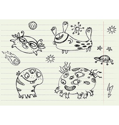 Collection of cartoon doodle monsters 2 vector