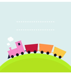 Colorful childish train on hill with copy space vector