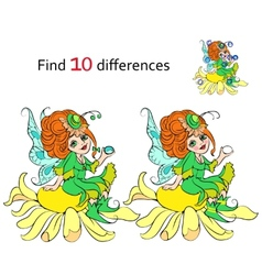 Find 10 differences beautiful fairy vector