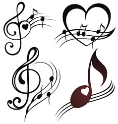 Musical note staff set vector