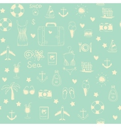 On vacation summer sketch seamless pattern vector