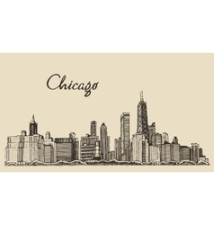 Chicago skyline big city engraving drawn vector