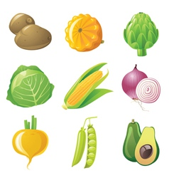 9 highly detailed vegetables icons set vector