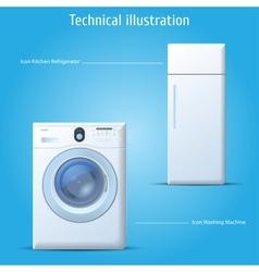 Kitchen refrigerator and washing machine vector