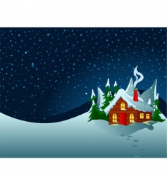 Little house in snowy hills vector