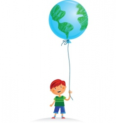 Boy with balloon vector