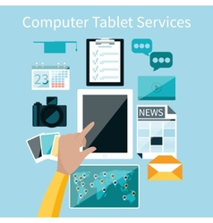 Computer tablet services vector