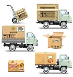 Delivery retro light truck vector