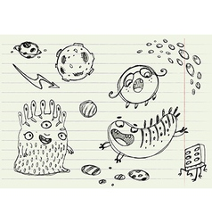 Collection of cartoon doodle monsters 3 vector