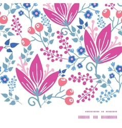Pink flowers horizontal frame seamless pattern vector