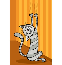 Cat scratching wall cartoon vector