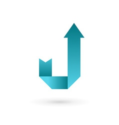 Letter j arrow ribbon logo icon design template vector