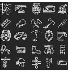 Line icons collection for rock climbing vector