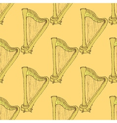 Sketch harp musical instrument in vintage style vector