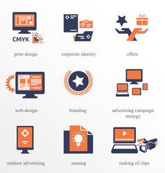 Icons set for advertisement company vector
