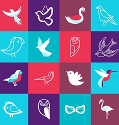 Set of bird logos vector