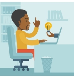 Black guy working inside his office vector