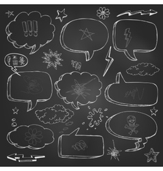 Hand drawn cartoon speech bubble on black board vector