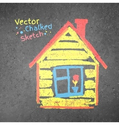 Chalk drawn house vector