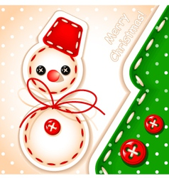 Sewing snowman and tree vector