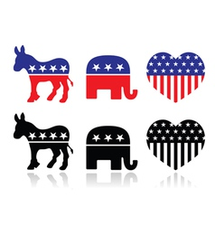 Usa political parties symbols vector