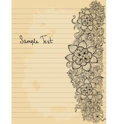 Floral doodle on paper sheet background vector