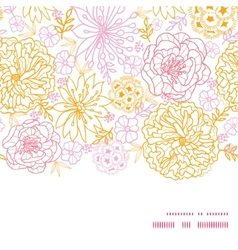 Flowers outlined horizontal frame seamless vector