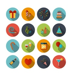 Celebration icons set vector