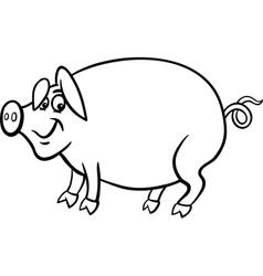 Farm pig cartoon for coloring book vector