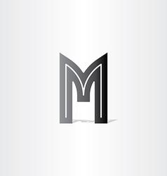 Letter m black symbol design vector